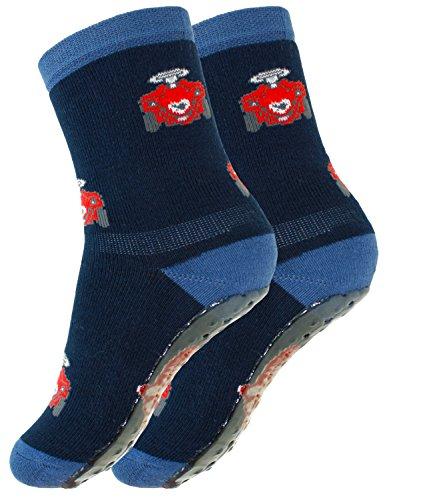 EveryKid Ewers Babystoppersocken Stoppersocken Jungensocken ABS Socken Antirutsch schadstofffrei mit Bobby Car für Babys (EW-27115-S17-BJ0-1139-17/18) in Navy, Größe 17/18 inkl Fashionguide