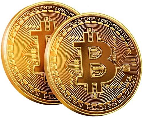 2x Bitcoin Münze by BRINGO | 24-Karat Echt-Gold Überzogen Mit Schutzhülle