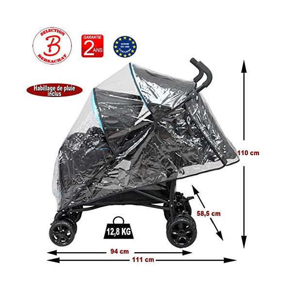 Double Buggy for Children of Similar Age Bebeachat Rear seat: use from birth to 36 months. Front seat: use from 6 to 36 months. Multi-position front and rear seats. 5-point safety harness. The 2 canopies are removable. Window and pocket on the back canopy. Protective apron on front and back. 2