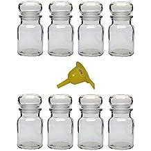 Viva-artículos de uso doméstico - 8 ronda de tarros de 150 ml/de cristal con tapón para especias, té, regalos de botellas, etc, - incluye embudo