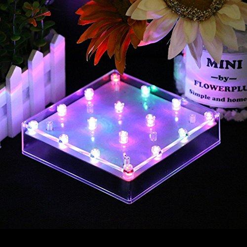 Atcket 5en acrílico jarrón cuadrado LED luz Base