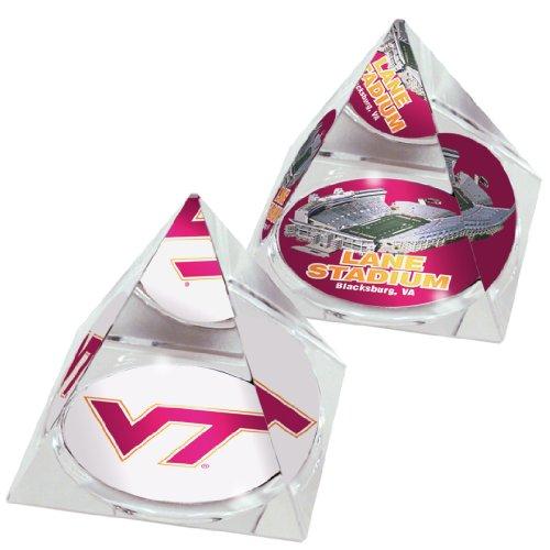 NCAA Virginia Tech Hokies Lane Stadion und Logo in 5,1cm Kristall Pyramiden mit bunten verglaste Geschenk-Boxen; 2Stück