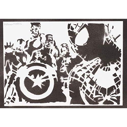 Poster Spiderman y los Vengadores Grafiti Hecho a Mano - Handmade Street Art - Artwork 11
