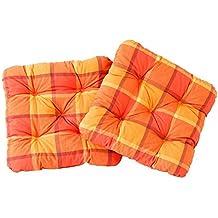 Ambient Home Lot De 2 Galettes A Carreaux Chaise EVJE Orange 50 X