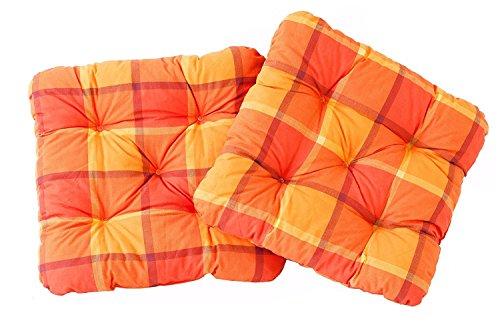 Ambient home Lot de 2 Galettes à carreaux de chaise EVJE Orange 50 x 50 x 8 cm 90600