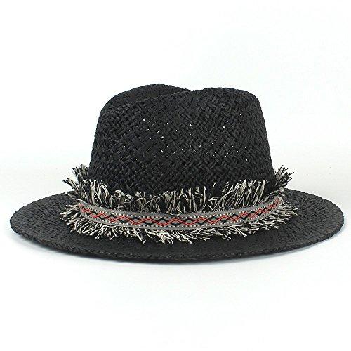 n Stroh Sonnenhüte Mode Quaste Strand Hut Panama Sonnenhut Handgefertigte Komfortable Papier Newboy Caps Jazz Schwarze Kappe Weiße Kappe (Color : White, Size : 56-58CM) ()