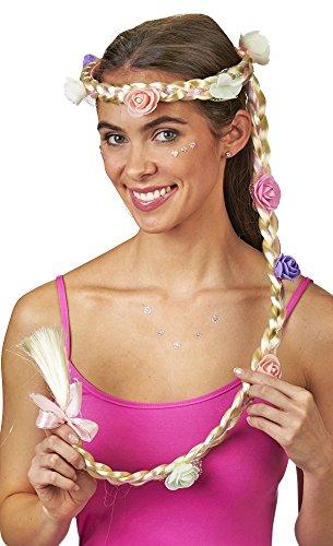 Prinzessin Stirnband mit Zopf und Blüten - Blond - mit langem geflochtenen Zopf für Damen zum Rapunzel Burgfräulein Märchen Blumenmädchen Kostüm - Karneval Mottoparty Fasching ()