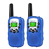 Children Walkie Talkies 2 pcs Long Range Kids Walky Talky UHF 446MHz 8 Channels License Free Two-Way Radios with LED Light on The Top (Dark Blue)