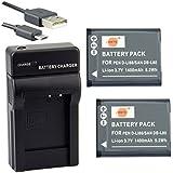 DSTE D-LI88 Li-ion Batterie (2-Pack) et chargeur USB costume pour Pentax Optio H90, P70, P80, W90, WS80