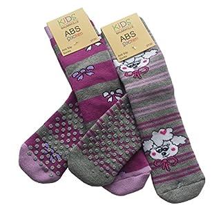 4 Pair of Childrens ABS - Slipper Socks, Full Terry Cotton Socks. Non Slip Socks. 31/34_lila_4er