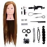 Margueras 26teste per esercizio da trucco, 50% capelli naturali per il salone da parrucchiere, bambola con supporto + Set per treccia
