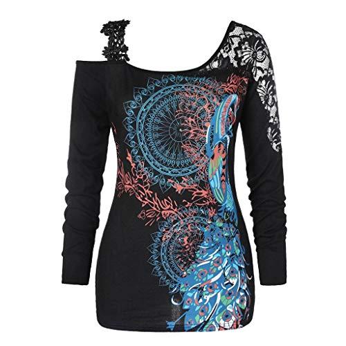 BESSKY Damen Weihnachten Frohe Spitzen Pullover Langarm Wunderschönes Kostüm für Familienfrauen Hemd Weihnachtsmann T-Shirt Tops (Verkauf Zum Schwarz-weihnachtsmänner)