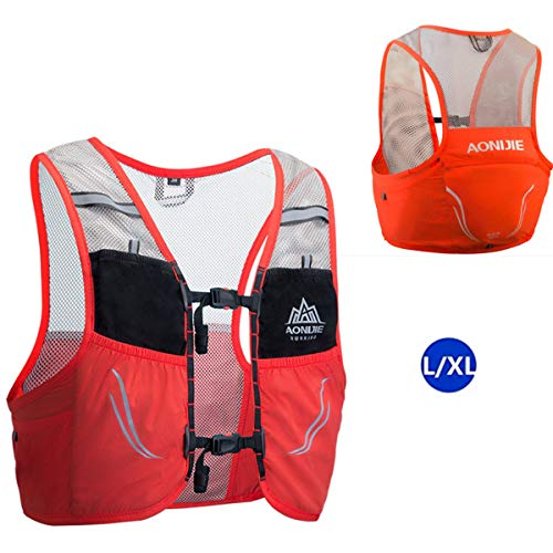 AONIJIE 2.5 L Unisex Ultra Running Chaleco de Piel Avanzada hidratación Pack para Trail Running Cycling Marathoner (Rojo -L/XL)