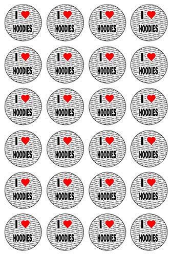 AK Giftshop I Love Hoodies - 24 essbare Cupcake-Dekorationen - einfache vorgeschnittene Kreise Cupcake-hoodie