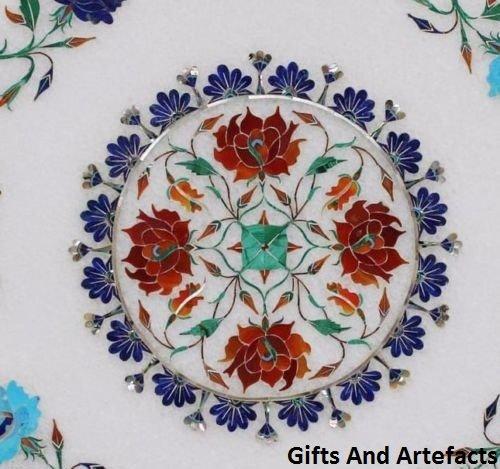 Gifts And Artefacts 38,1cm Octagon weiß Marmor Multi Farbe Stein Sofa Tisch Top Inlay Blumen Design
