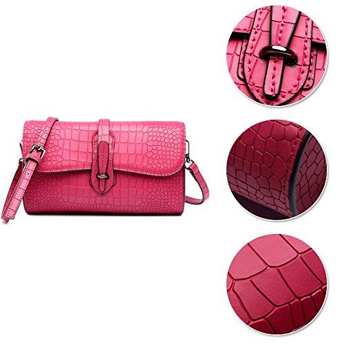 Yoome Designer di moda da donna Borse a tracolla Pelle bovina Croco Borse a tracolla Cartelle con tracolla - Grigio Rosa