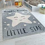 Paco Home Tappeto per Bambini Stanza dei Bambini Moderno Lavabile Stelle Carine Detto Grigio Bianco, Dimensione:80x150 cm