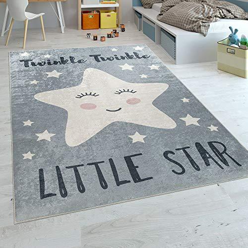 Paco Home Alfombra Habitación Infantil Moderna Lavable Estrella Adorable Frase Gris Blanco,...