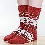 LILONGXI Warme Socken,Frau Winter Weihnachten Socken rutschfeste Boden Verdickung Warme Socken, Mädchen Plus Red Elk Muster Drucken Baumwolle Socken, Hausschuhe Freizeit Socken(3pcs)