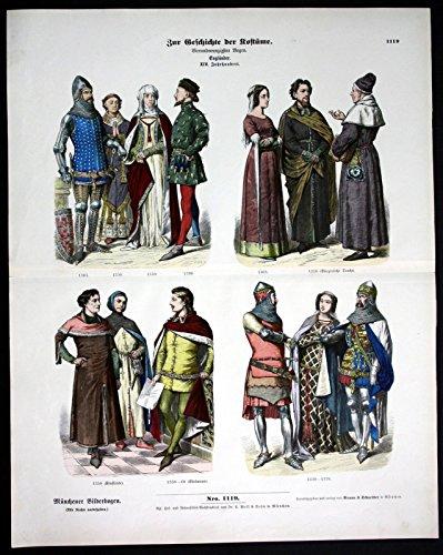 England 14.Jh. Kostüme Trachten Ritter Adel Münchener - England Ritter Kostüm