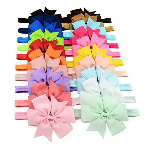 Dokpav Baby Stirnbänder, 20 Pack Elastische Haarbänder mit 4.3'' Haar Bogen Verschiedene Farben Geschenk Wahl Für Babys (4.3