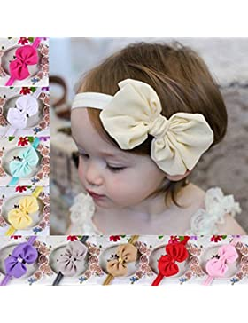 TININNA 10pcs bebé niñas Bowknot gasa diadema hairband tocado pelo banda headwear turbante Headwrap pelo lazo...