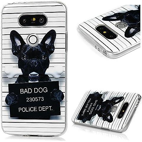 LG G5 Funda, BADALink Carcasa original para LG G5 Protective Case Cover (TPU Gel de Silicona Suave, ultrafina Slim Fit), diseño perro negro