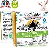 Nabür - Savon lait de chèvre Frais BIO 20% | Maison Française - Saponifié à froid | Artisanal, Masque Extra-doux, Surgras | Visage, Corps, Tâches, Acné, Eczéma, Psoriasis