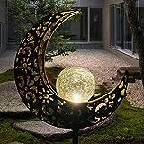 Solarleuchte Solarlampen für Garten Gartenleuchte Solar Mond Leuchte Aushöhlende Wegeleuchte mit Erdspieß Außen Beleuchtung Dekoration für Garten 1 PCS ...