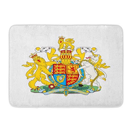LIS HOME Fußmatten Bad Teppiche Outdoor/Indoor Fußmatte British Royal of Arms Großbritannien Crown Flag National Black Badezimmer Dekor Teppich Badematte -