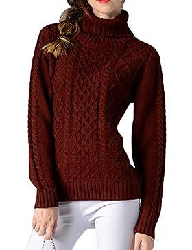 Mujer Jerseys Cuello Alto Casual Loose Suéter Manga Larga Pullover De Punto
