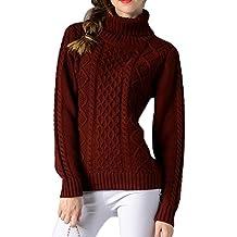 b873c17ea26 ZhuiKun Pull Col Roulé Femme Tricot Manche Longue Jumper Sweater Tops Blouse