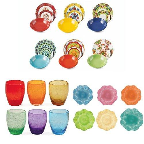 Servizio da tavola multicolore completo 18 pezzi in porcellana + Set di 6 bicchieri in vetro soffiato + Sottopiatti Barock