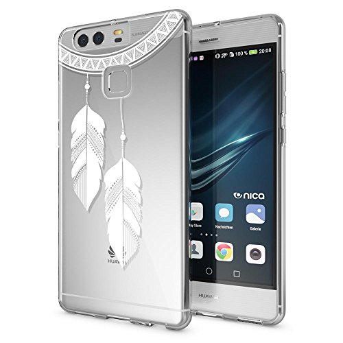 delightable24 Cover Case in Silicone TPU per Smartphone HUAWEI P9, Designs:Chain Feathers