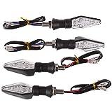 ONEVER 4PCS 12 LED Motorrad Blinker - LED Blinker, Blau und Bernstein Farbe Blinker Lampe