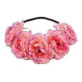 Uesae Diadema de Flores para Mujer con Diadema de Flores y Diadema Elástica para Novia, para Boda, Festival, Diadema, Color Retro, 50 cm, Pcs1 Rosa Rose Pink 50cm