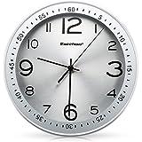 """Excelvan 12"""" Pendules Murales Horloge Murale Rond Armature en Métal Diamètre 12 Pouce pour Bureau Salon Chambre"""