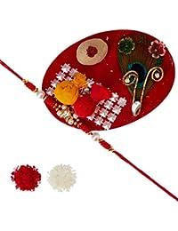 Aheli Golden Box White Shell & Beads Rakhi With Roli Chawal Tilak For Men Boys (Golden) (RB24215)