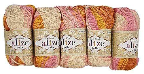 Alize Bella 5 x 50 Gramm Baumwolle mehrfarbig mit Farbverlauf, 250 Gramm Wolle aus 100{622bdcc07eba639f0ec00da9aabc0b9ad16a3250b82261b1060e63939a32e1d7} Baumwolle, Strickwolle (rosa lachs terrakotta creme 6789)