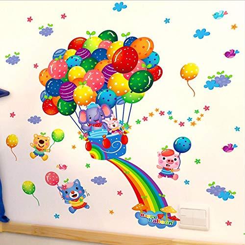 (Gwgdjk Pvc Abnehmbare Ballon Tiere Wandaufkleber Für Baby Kinderzimmer Aufkleber Kunst Vinyl Kindergarten Wandbild Dekor)