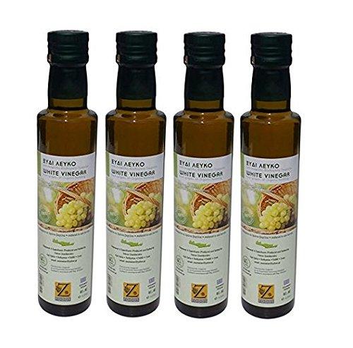 4x 250ml weißer Essig BIO aus Weintrauben 4 Flaschen im Set 1 Liter gesamt + 10ml Olivenöl aus...