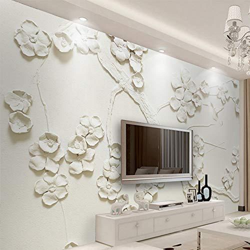 308 Pflaume (Tapete Wandbild 3D Geprägt Schöne Pflaume Tapete Wohnzimmer Tv Sofa Dekoration Tapete, 400 * 280Cm)