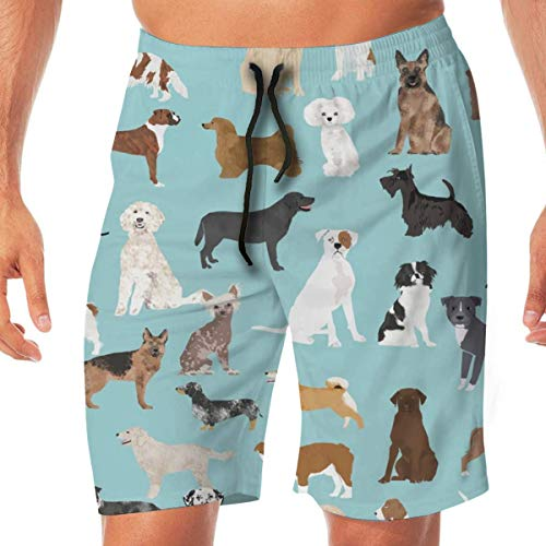 Nisdsh Personality Dog Ducks Scene Brown_170 Men Swim Trunks Surf Beach Holiday Party Swim Shorts Beach Pants, Medium Velvet Holiday-outfit