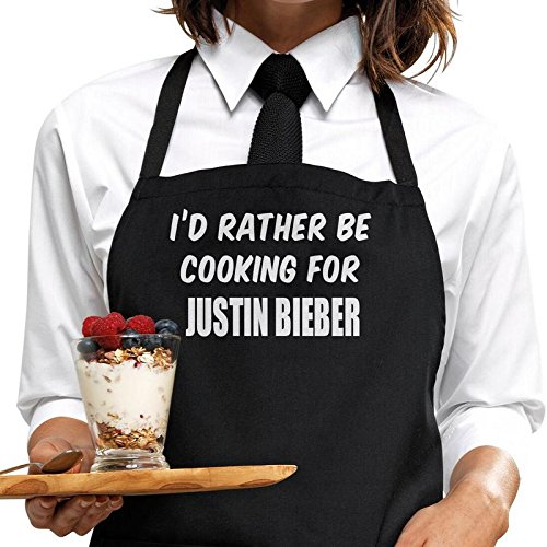 I'd rather be cooking for Justin Bieber apron, wrapping and gift message service available by Bertie's Kitchen