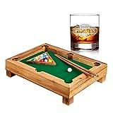 AMAVEL – Set – Mini Billardtisch aus Edelholz – Geschicklichkeitsspiel – Whisykglas mit Gravur – Personalisiert mit [Namen] und [Jaherszahl] – Tumbler – Geschenkidee für Männer zum Geburtstag