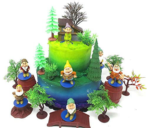 Tortenaufsatz Schneewittchen und die sieben Zwerge Zwerge Geburtstag Kuchen Topper Set mit Zwergfiguren und dekorativen Accessoires (Schneewittchen-kuchen)