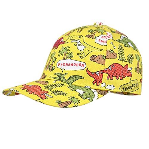 Dinosaurier Traum Kinder 3-6 Jahre alt Jungen Sommer Sonnenhüte , Baumwolle Baseball Cap Frühling im Freien Spielraum Caps (Gelb)