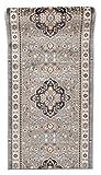 Läufer Teppich Flur in Grau - Orientalisch Klassischer Muster - Brücke Läuferteppich nach Maß - 100 cm Breit - AYLA Kollektion von Carpeto - 100 x 375 cm