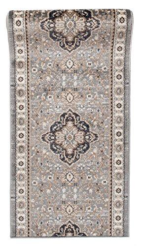WE LOVE RUGS CARPETO Läufer Teppich Flur in Grau - Orientalisch Klassischer Muster - Brücke Läuferteppich nach Maß - 70 cm Breit - AYLA Kollektion von Carpeto - 70 x 275 cm