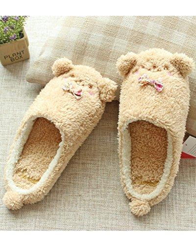 Minetom Donne Pantofole Calde Autunno Inverno Morbido Scarpe Antiscivolo Casa Bowknot Cartone Animato Slippers Marrone